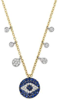 Meira T Sapphire and Diamond Evil Eye Necklace in 14K Yellow Gold, 16""
