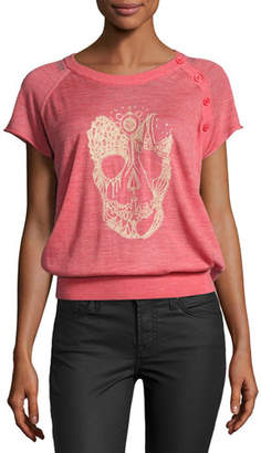 Zadig & Voltaire Short-Sleeve Strass Skull Sweatshirt, Red $258 thestylecure.com