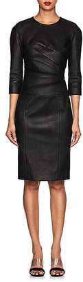 Narciso Rodriguez Women's Ruched Leather Long-Sleeve Dress