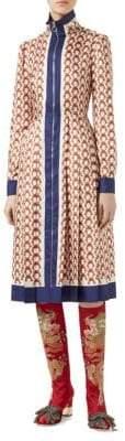Gucci Gun-Print Silk Zip Fit-&-Flare Dress