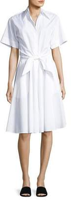 Diane von Furstenberg Collared Cotton Tie-Front Shirtdress, White $348 thestylecure.com
