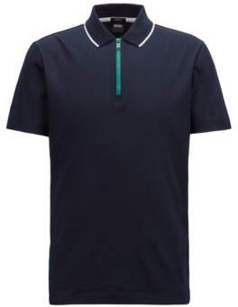 BOSS Hugo Mercerized cotton polo shirt contrast zip M Open Blue