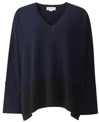 Amanda Wakeley Hutton Midnight Cashmere Colour Block Boyfriend Top