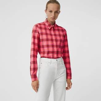 Burberry Check Cotton Shirt , Size: 06, Red