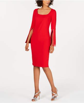 Calvin Klein Blingy Bell-Sleeve Sheath Dress