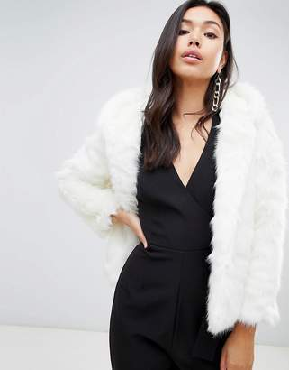 Missguided faux fur hodded coat