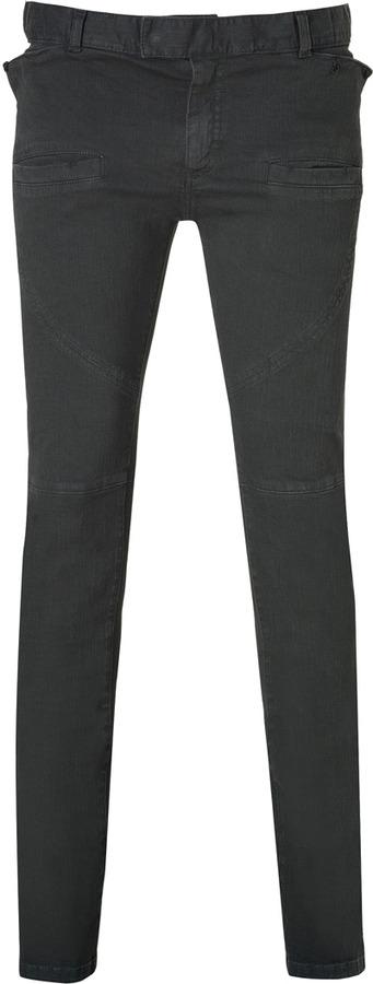 Balmain Grey-Green Denim Pants