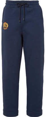 Burberry Embroidered Cotton-blend Jersey Track Pants - Navy