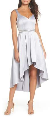 Sequin Hearts Belted Stretch Satin High/Low Dress