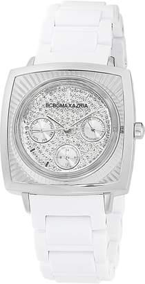 BCBGMAXAZRIA Women's BG8229 Elite Sport -Tone White Rubber Watch