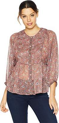 Lucky Brand Women's Floral Woven Mix Peasant TOP
