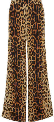 Moschino Leopard-print Silk-crepe Wide-leg Pants - Brown