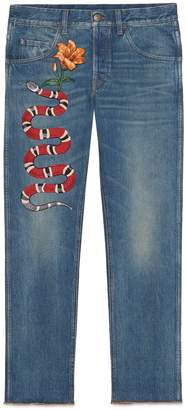 Gucci Embroidered denim pant
