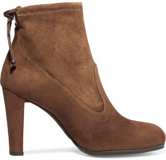 Stuart Weitzman - Glove Stretch-suede Ankle Boots - Brown $565 thestylecure.com