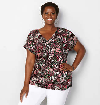 Avenue Tossed Floral Peasant Top