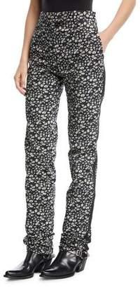 Calvin Klein Daisy-Print High-Waist Straight-Leg Pants