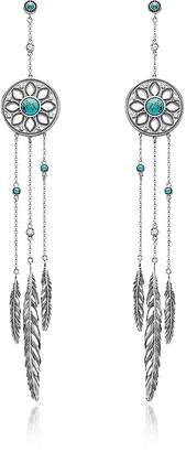 Thomas Sabo Blackened Sterling Silver Feather Pendant Earrings w/Synthetic Turquoise and White Cubic Zirconia