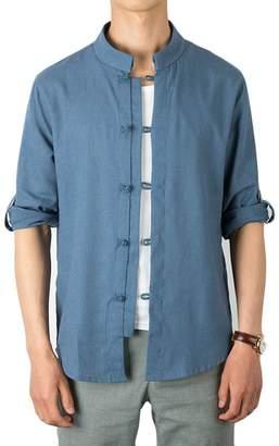 d4aa3378a3 YYG-Men 3 4 Sleeve Chinese Style Stand Collar Button up Linen Dress Shirts