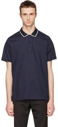 Burberry Navy Striped Collar Polo