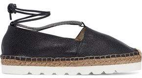 Brunello Cucinelli Bead-Embellished Pebbled-Leather Espadrilles