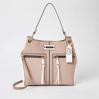 f2aacba5 River Island Womens Beige zip front slouch bag