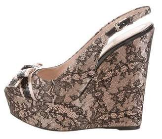 Christian Dior Lace Platform Wedges