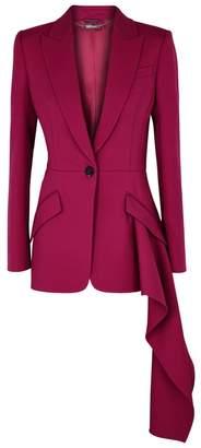 Alexander McQueen Fuchsia Asymmetric Wool-blend Blazer