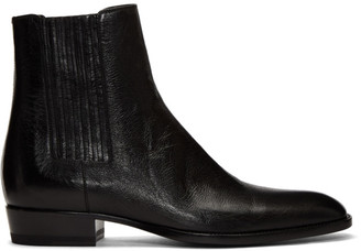 Saint Laurent Black Wyatt Chelsea Boots