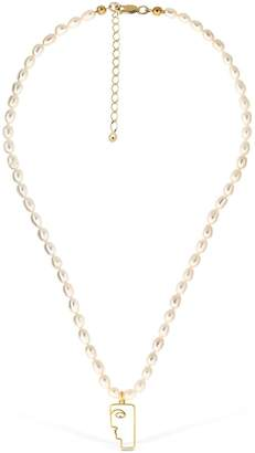 Mini Face Chocker With Pearls