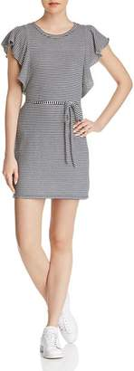 Splendid Ruffle-Sleeve Striped Tee Dress