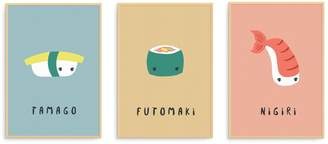Born Lucky - Tamago, Futomaki & Nigiri Sushi Illustration Nursery Art Prints Collection Of Three