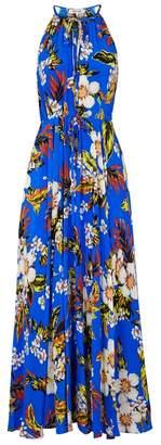 Diane von Furstenberg Cobalt Floral-print Silk Maxi Dress