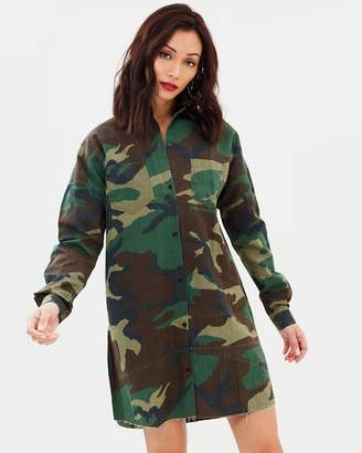 Missguided Camo Long Sleeve Shirt Dress