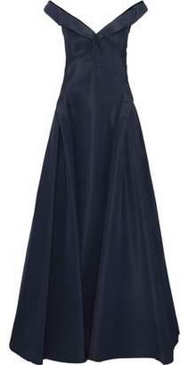 Zac Posen Off-The-Shoulder Silk-Faille Gown