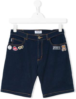 Moschino Kids applique patch denim shorts