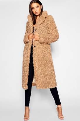 boohoo Tall Shaggy Faux Fur Coat