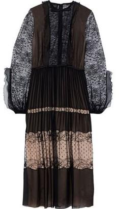 Giambattista Valli Pleated Silk-chiffon, Lace And Point D'esprit Midi Dress