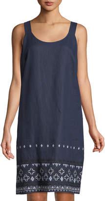 Neiman Marcus Linen Embroidered-Hem Shift Dress