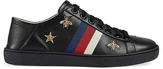 Gucci Women's New Ace Embroidered Leather Sneakers - Black