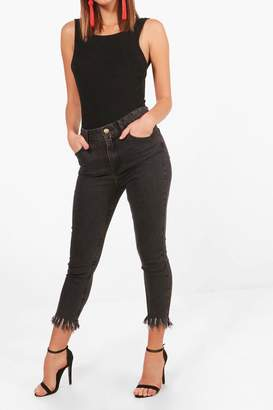 boohoo Fee High Rise Fray Hem Skinny Jeans