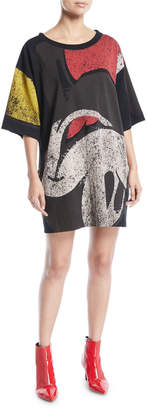 Marc Jacobs Crewneck Short-Sleeve T-Shirt Dress with Mickey-Print