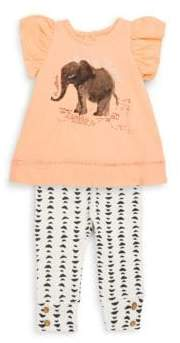 Jessica Simpson Girl's Two-Piece Elephant Graphic Cotton Top and Printed Leggings Set