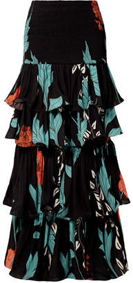 Johanna Ortiz - Shirred Ruffled Floral-print Silk-chiffon Maxi Skirt - Black