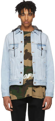 Off-White Off White Blue Denim Hoodie Jacket