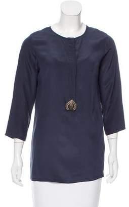 Figue Embellished Silk Top