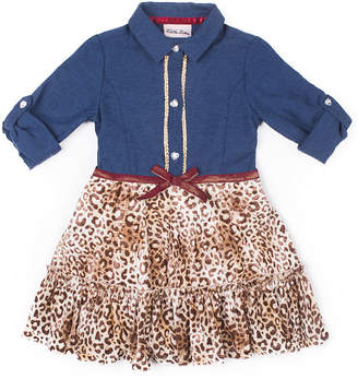 Little Lass Long Sleeve Leopard Dress - Baby Girls