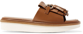 Tod's - Fringed Leather Platform Sandals - Tan $695 thestylecure.com
