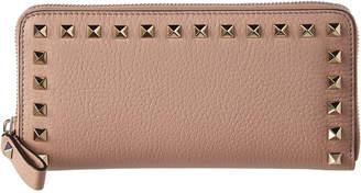 Valentino Rockstud Leather Zip Around Wallet