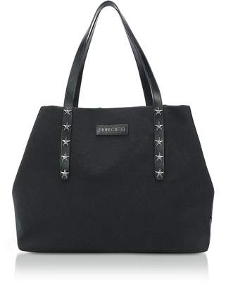 Jimmy Choo Pimlico/S Black Woven Nylon Tote Bag w/Star Studded Handles