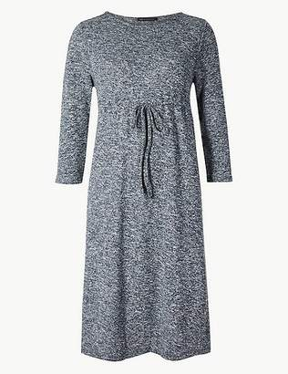 Marks and Spencer Textured 3/4 Sleeve Waisted Dress